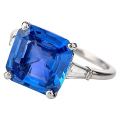 Cartier No Heat Ceylon Natural Sapphire Diamond Engagement Ring, AGL Certified