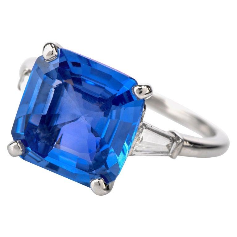 Cartier No Heat Ceylon Natural Sapphire Diamond Engagement Ring, AGL Certified