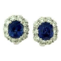 Cartier No Heat Sapphire Diamond Platinum Earrings, Clip-On and Stud