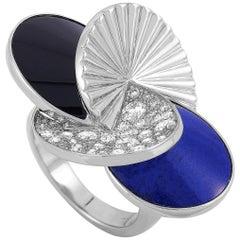 Cartier Nouvelle Vague 18 Karat White Gold Diamond, Lapis Lazuli and Onyx Ring