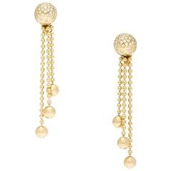 Cartier Nouvelle Vague 750 Karat Yellow Gold and Diamonds Earrings