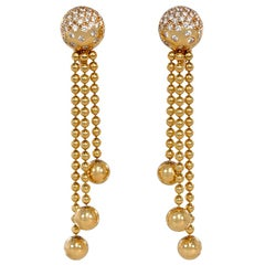 Cartier Nouvelle Vague Gold and Diamond Earrings with Ball Chain Fringe