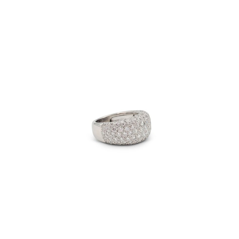 Cartier 'Nouvelle Vague' White Gold and Diamond Pavé Dome Ring In Excellent Condition For Sale In New York, NY
