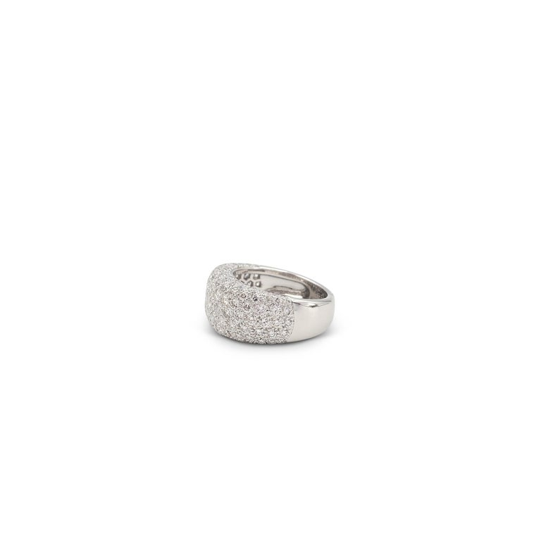 Women's Cartier 'Nouvelle Vague' White Gold and Diamond Pavé Dome Ring For Sale