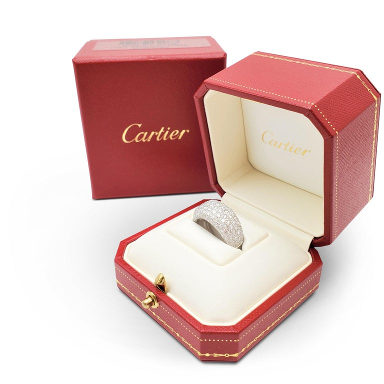 Cartier 'Nouvelle Vague' White Gold and Diamond Pavé Dome Ring For Sale 2