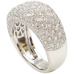 Cartier 'Nouvelle Vague' White Gold and Diamond Pavé Dome Ring