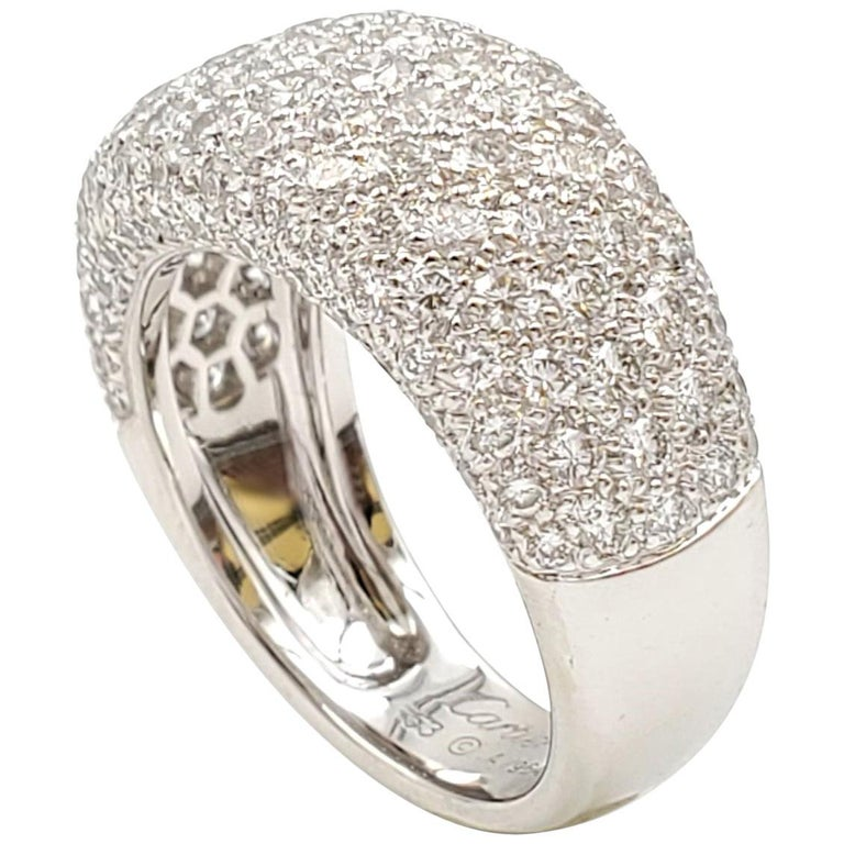 Cartier 'Nouvelle Vague' White Gold and Diamond Pavé Dome Ring For Sale
