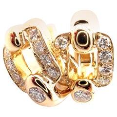 Cartier Nymphea Diamond Yellow Gold Earrings