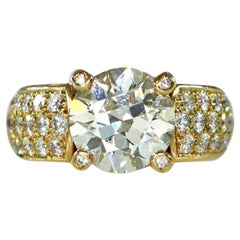 Cartier Old Cut Diamond Gold Engagement Solitaire Ring GIA 3.81 Carat