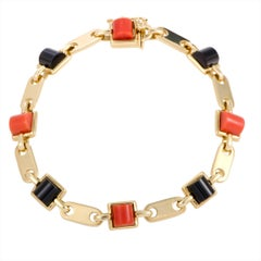 Cartier Onyx and Coral Yellow Gold Link Bracelet