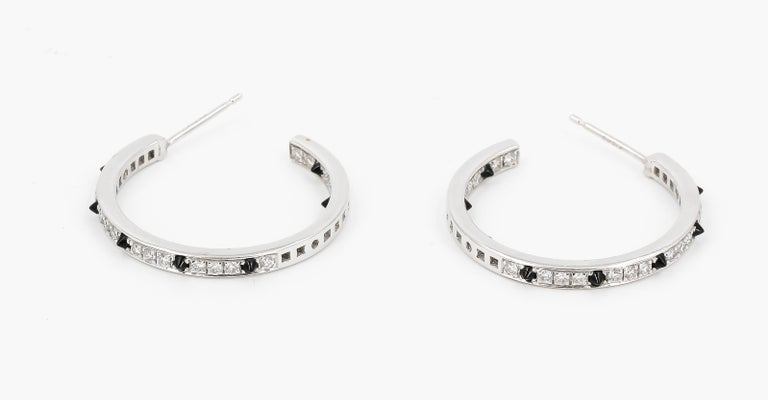 Women's Cartier Onyx, Diamond and 18 Karat White Gold Inside Out Hoop Earrings For Sale