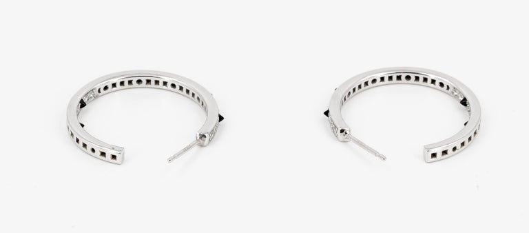 Cartier Onyx, Diamond and 18 Karat White Gold Inside Out Hoop Earrings For Sale 1
