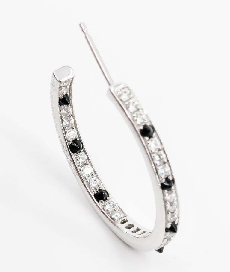 Cartier Onyx, Diamond and 18 Karat White Gold Inside Out Hoop Earrings For Sale 5