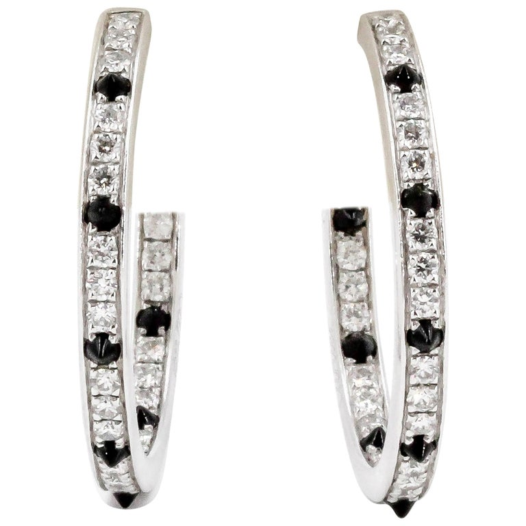 Cartier Onyx, Diamond and 18 Karat White Gold Inside Out Hoop Earrings For Sale