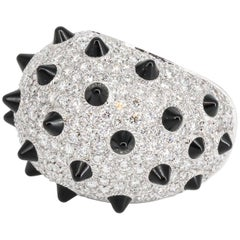 Cartier Onyx Diamond and White Gold Dome Ring