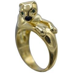 Cartier, Onyx, Emerald Ice Panther 18 Karat Gold Ring