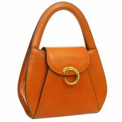 Cartier Orange Leather Gold Small Mini Top Handle Satchel Evening Flap Bag W/Box