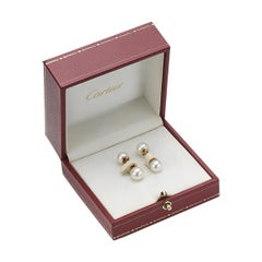 Cartier Original Cultured Pearl and 18 Karat Yellow Gold Cufflinks