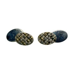 Cartier Oval Cufflinks with Checkerboard Design in 18k Gold and Sterling