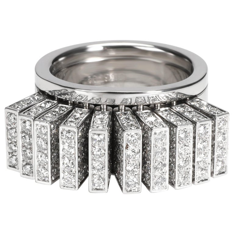 Cartier Paillettes Diamond Ring in 18 Karat White Gold 3.40 Carat For Sale