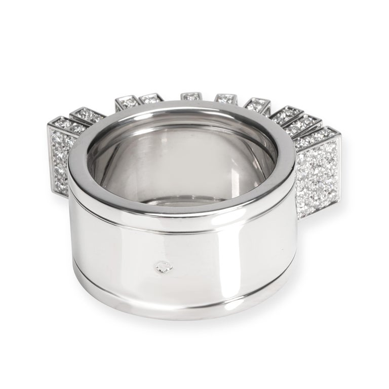 Cartier Paillettes Diamond Ring in 18 Karat White Gold 3.40 Carat In Excellent Condition For Sale In New York, NY