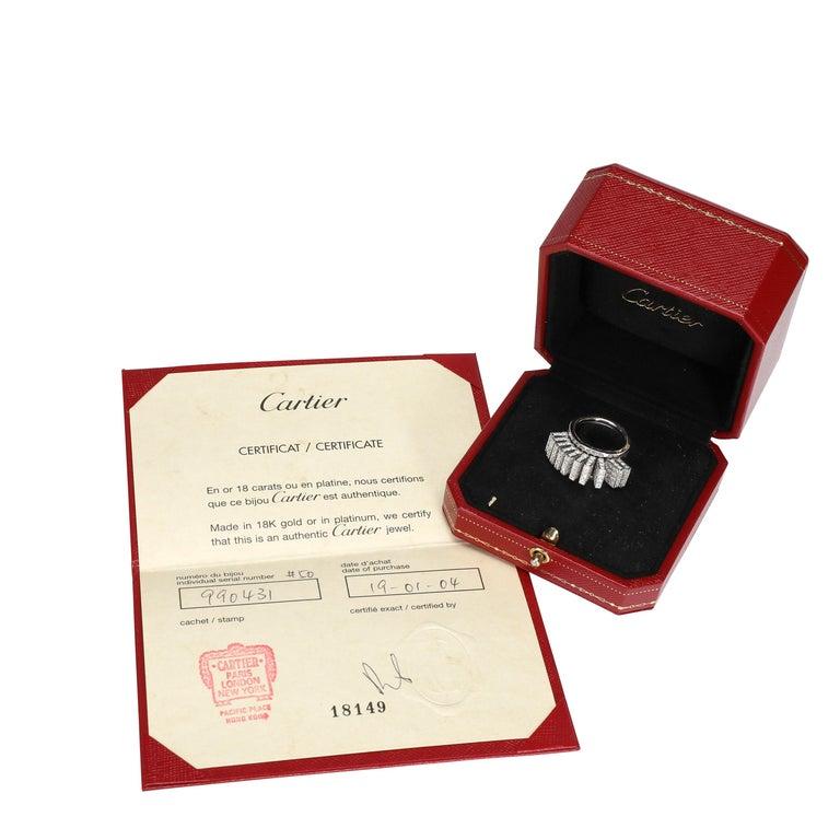 Women's Cartier Paillettes Diamond Ring in 18 Karat White Gold 3.40 Carat For Sale