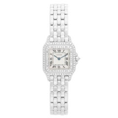 Cartier Panther 18 Karat White Gold with Double Diamond Bezel