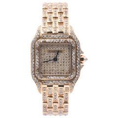 Cartier Panther 18 Karat Yellow Gold Custom Diamond Watch