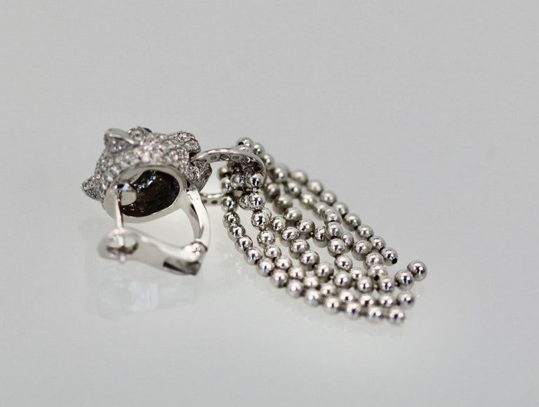 Cartier Panther Diamond Earrings with Tassels For Sale 4