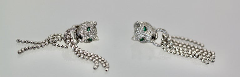 Round Cut Cartier Panther Diamond Earrings with Tassels For Sale