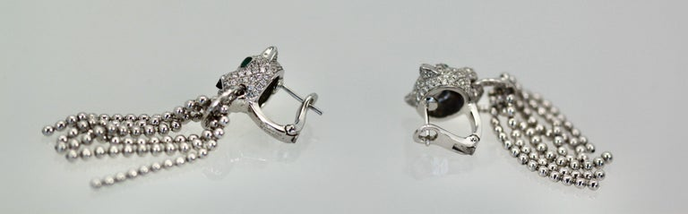 Cartier Panther Diamond Earrings with Tassels For Sale 1