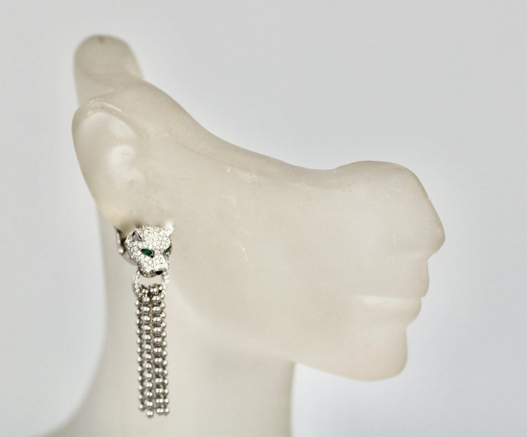 Cartier Panther Diamond Earrings with Tassels For Sale 3