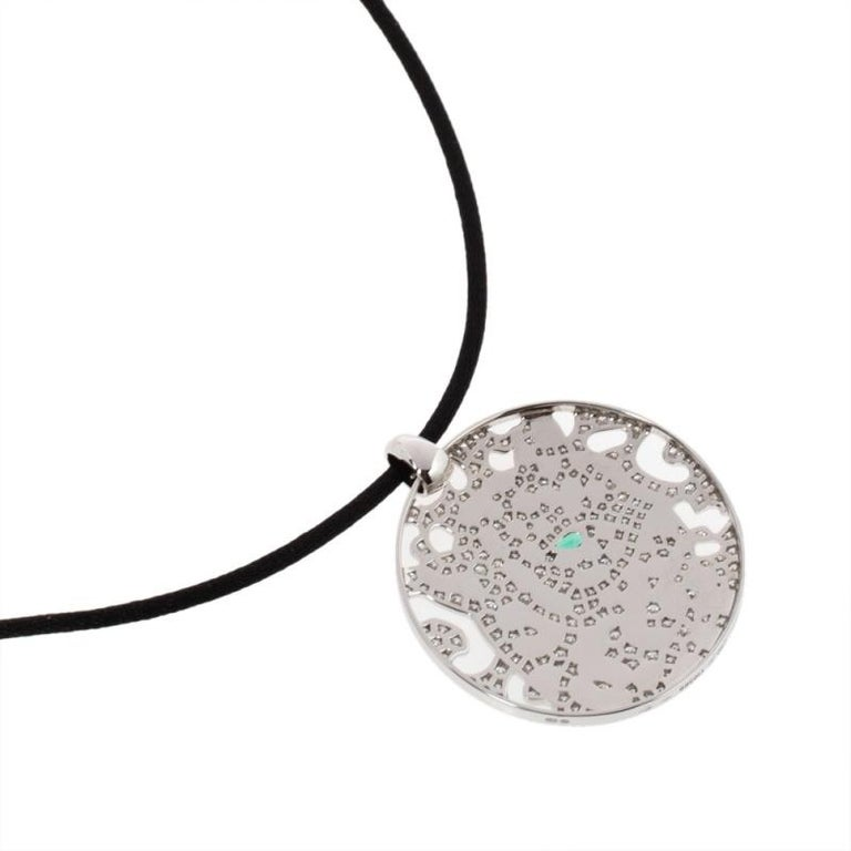 Cartier Panther Diamond Emerald Openwork Disc Pendant Black Cord Necklace In Good Condition For Sale In Dubai, Al Qouz 2
