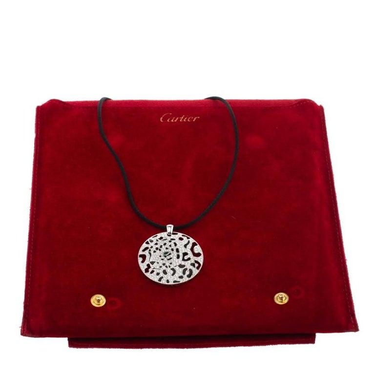 Women's Cartier Panther Diamond Emerald Openwork Disc Pendant Black Cord Necklace For Sale