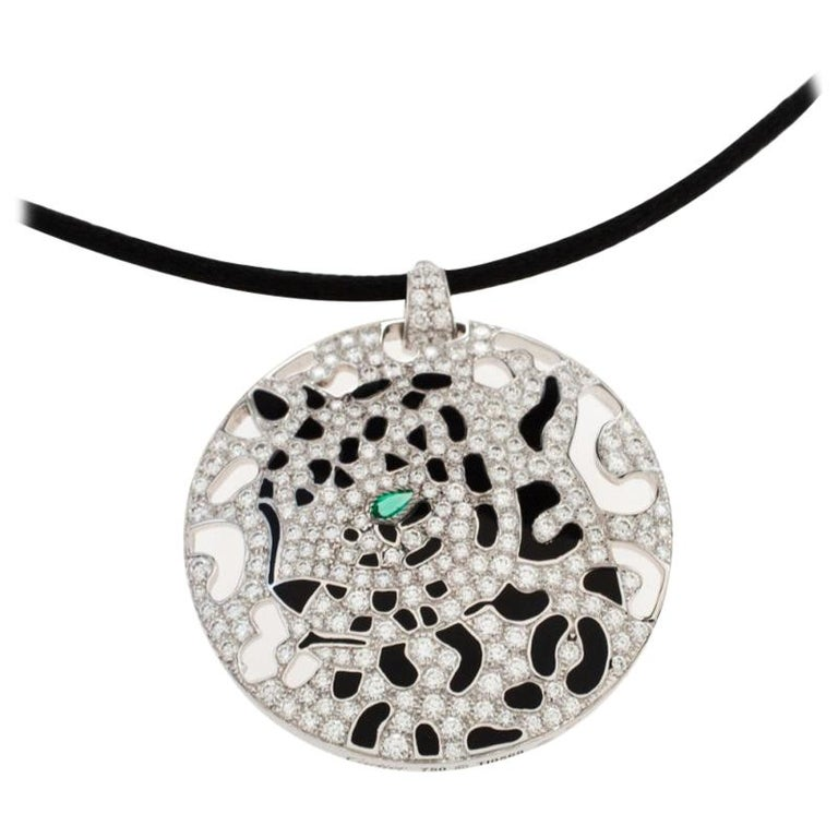 Cartier Panther Diamond Emerald Openwork Disc Pendant Black Cord Necklace For Sale