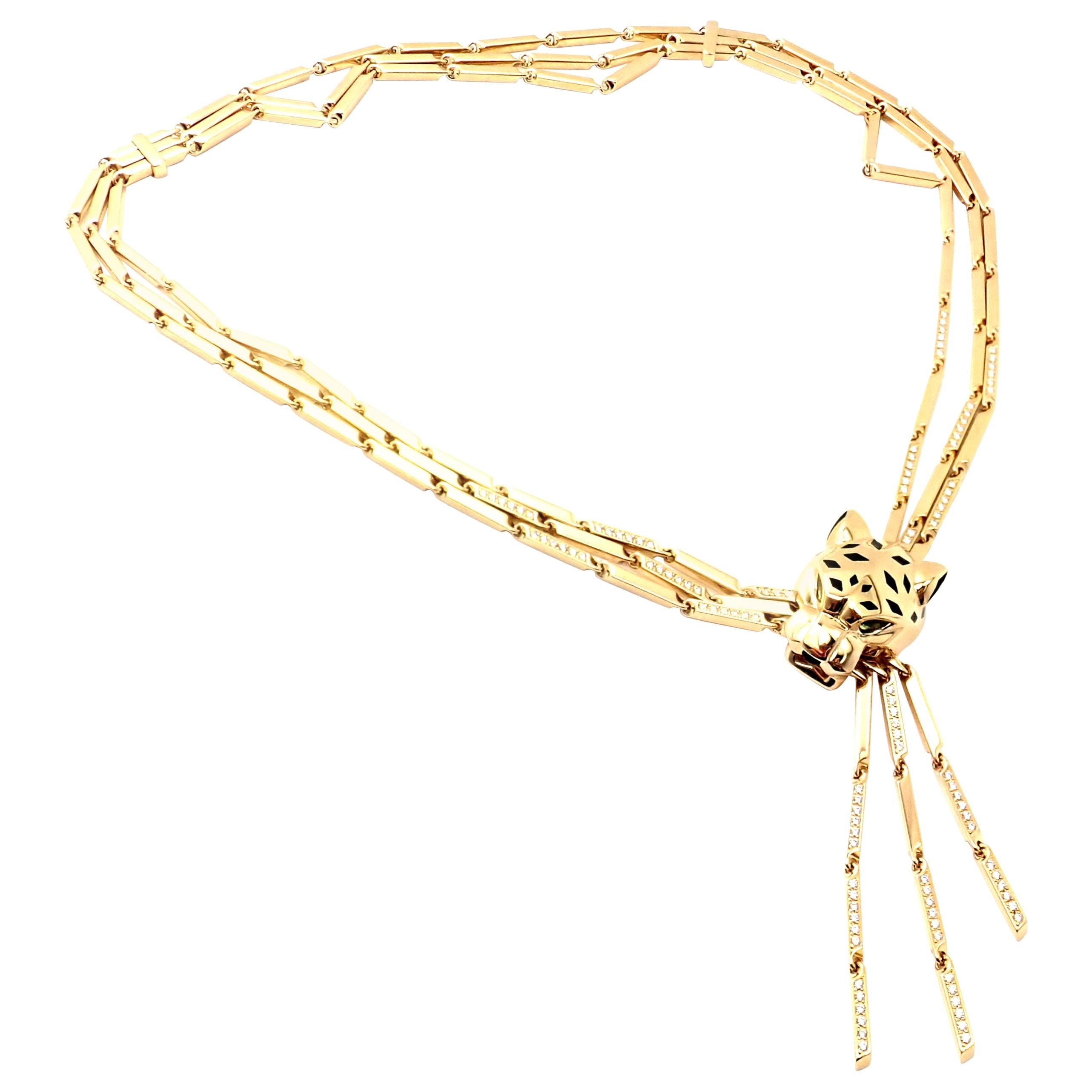 Cartier Panther Diamond Peridot Onyx Lacquer Tassel Yellow Gold Necklace