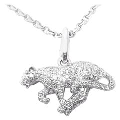 Cartier Panther Diamond White Gold Pendant Necklace