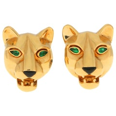 Cartier Panther Head Emerald and Onyx Earrings Set in 18 Karat Yellow Gold