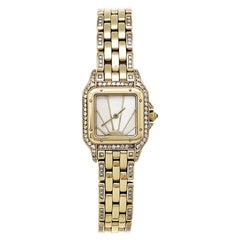 Cartier Panther Ladies 18 Karat Yellow Gold Watch Set with Diamonds
