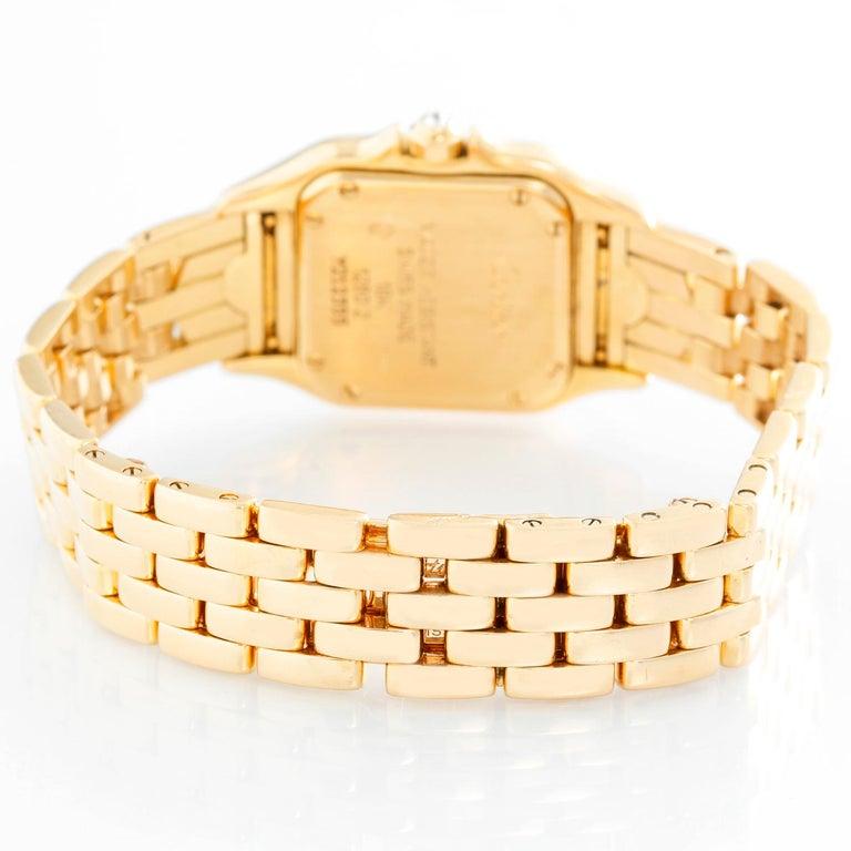 Cartier Panther Ladies 18 Karat Yellow Gold Diamond Watch In Excellent Condition In Dallas, TX