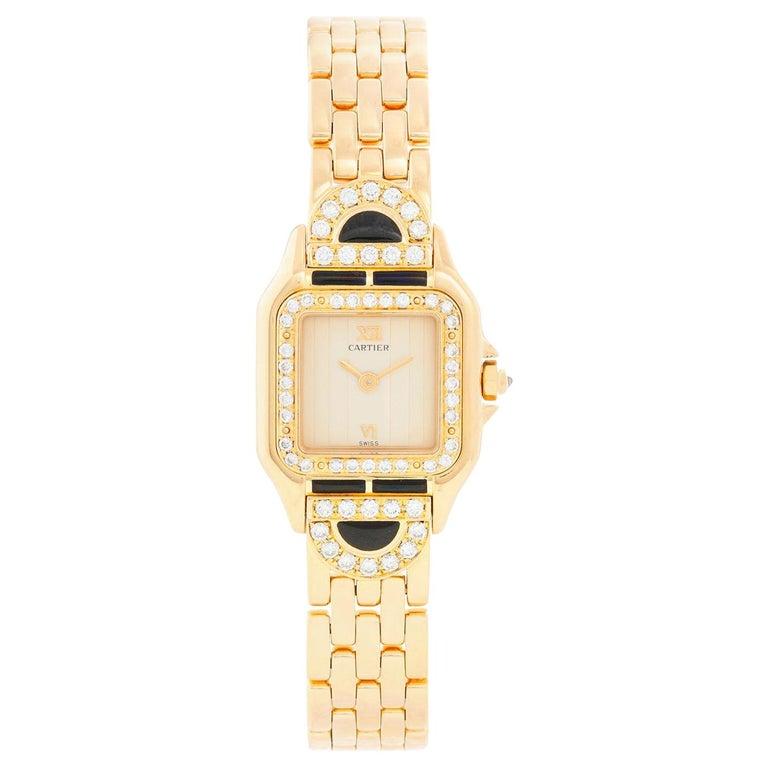 Cartier Panther Ladies 18 Karat Yellow Gold Diamond Watch