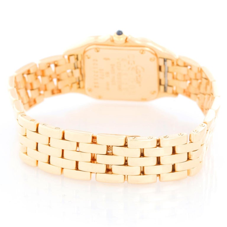 Cartier Panther Ladies 18k Yellow Gold Watch In Excellent Condition For Sale In Dallas, TX