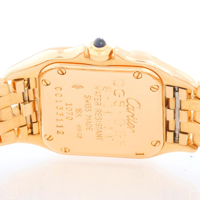 Women's Cartier Panther Ladies 18k Yellow Gold Watch For Sale