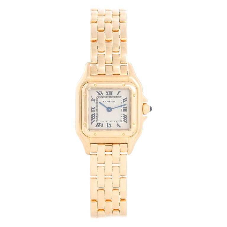 Cartier Panther Ladies 18k Yellow Gold Watch For Sale