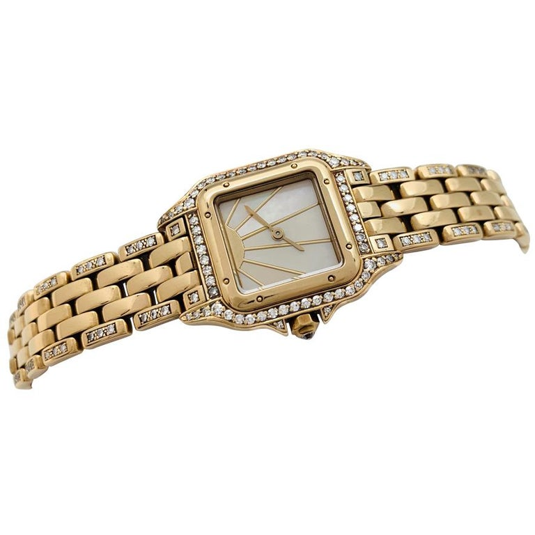 Contemporary Cartier Panther Ladies 18 Karat Yellow Gold Watch Set with Diamonds For Sale