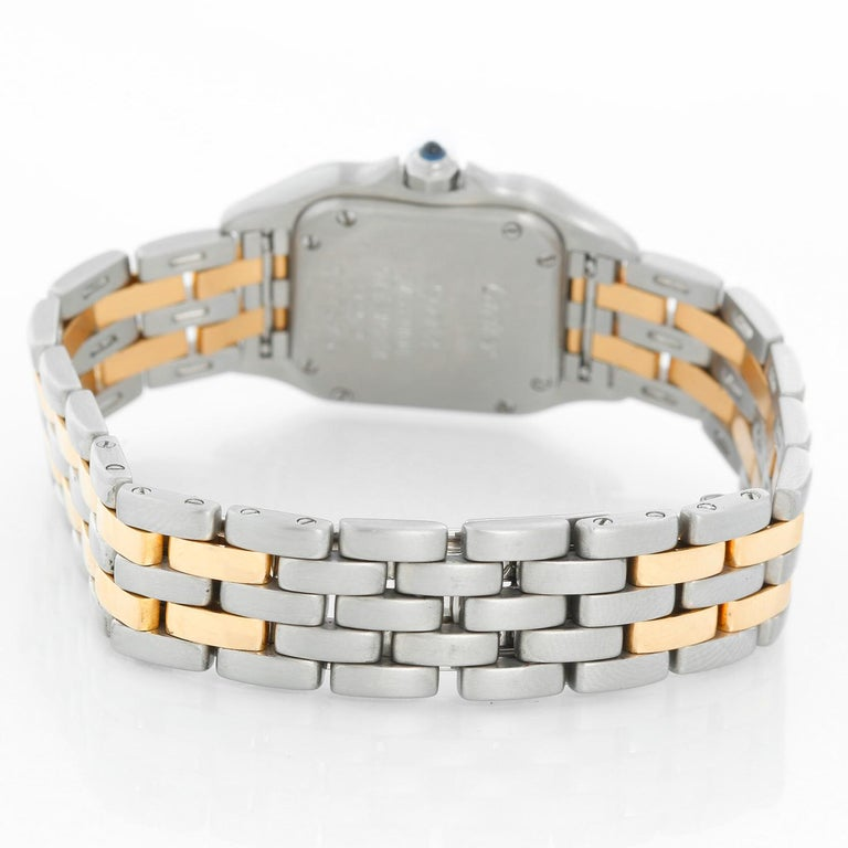 Cartier Panther Ladies 2-Tone 2-Row Steel and Gold Watch W25029B6 In Excellent Condition For Sale In Dallas, TX