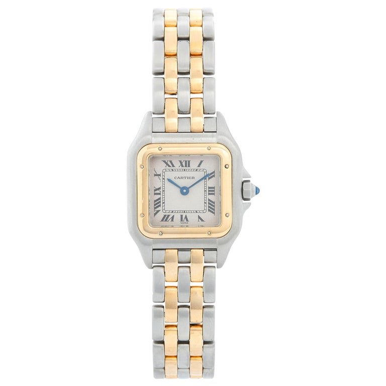 Cartier Panther Ladies 2-Tone 2-Row Steel and Gold Watch W25029B6 For Sale