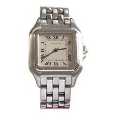Cartier Panther Large Steel Quartz Wristwatch with Calendar