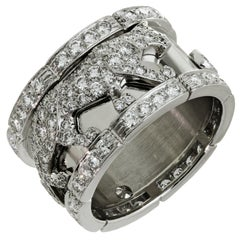 Cartier Panther Mahango Diamond White Gold Band Ring. Sz. 62