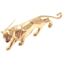Cartier Panther Onyx Emerald Yellow Gold Pin Brooch